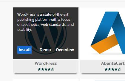click wordpress and install