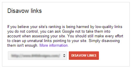 google webmasters disavow